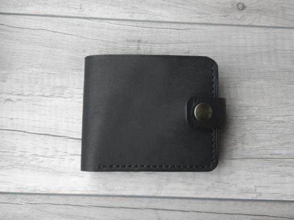 Портмоне из натуральной кожи с монетницей Black 11,5x9,5 см